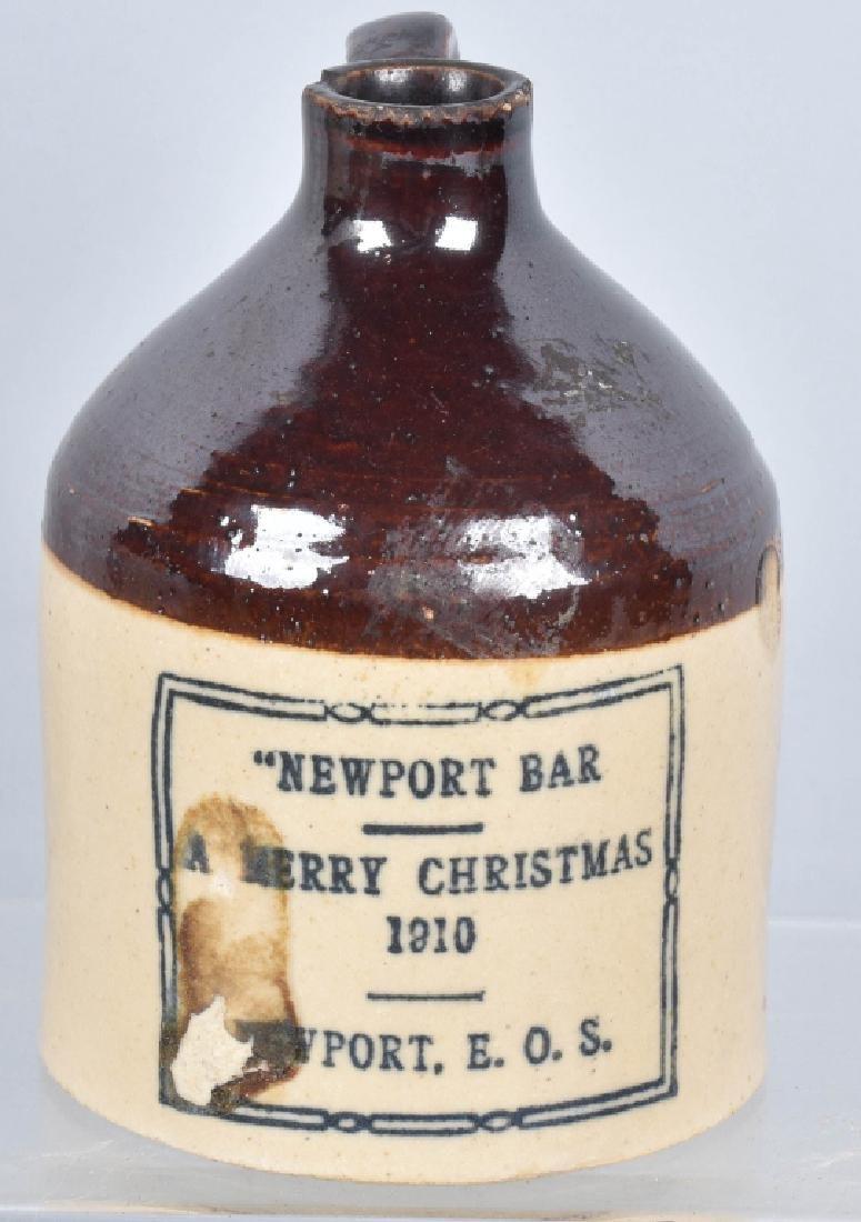 2-MERRY CHRISTMAS STONEWARE JUGS, 1910 & 1913 - 4