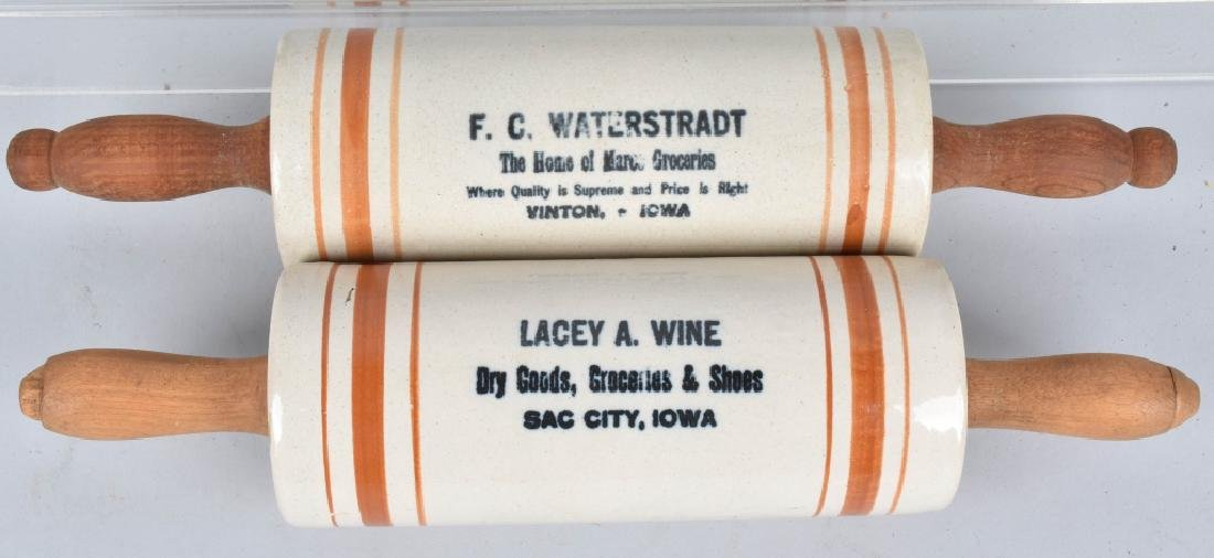 2-ADVERTISING STONEWARE ROLLING PINS