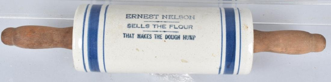 ERNEST NELSON ADVERTISING STONEWARE ROLLING PIN