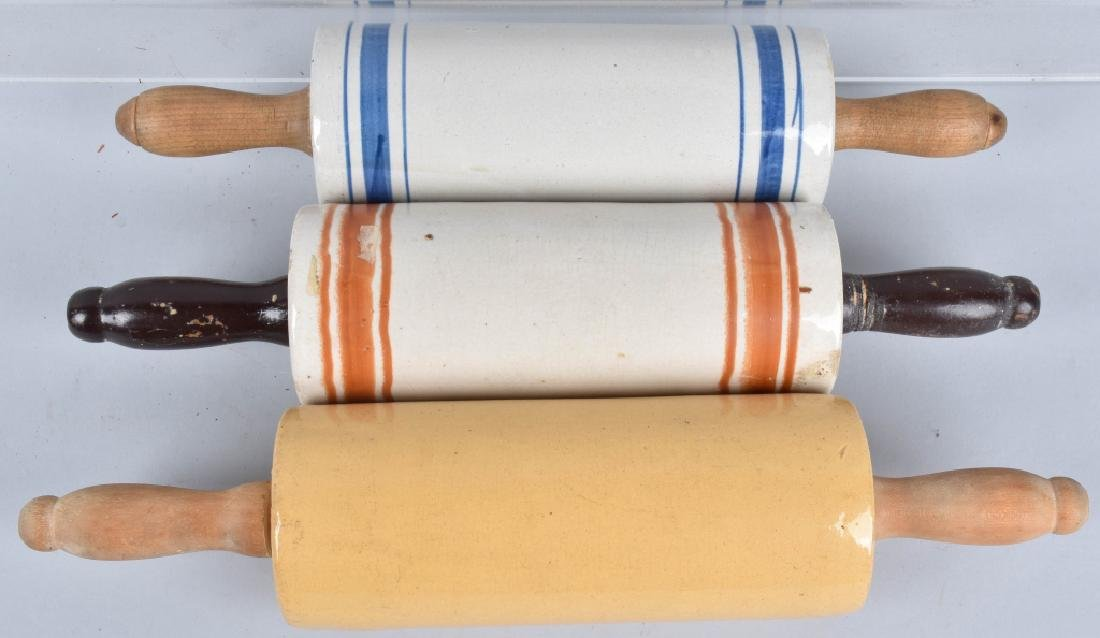 3- STONEWARE ROLLING PINS, BANDED AND YELLOW WARE