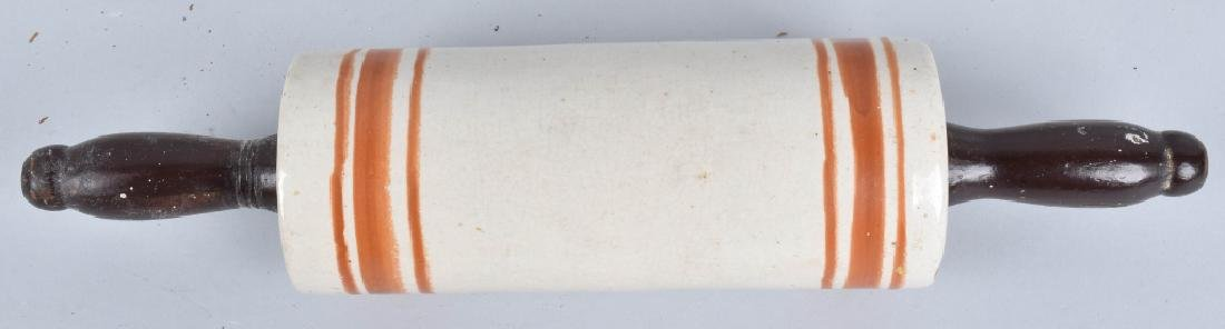 3- STONEWARE ROLLING PINS, BANDED AND YELLOW WARE - 3