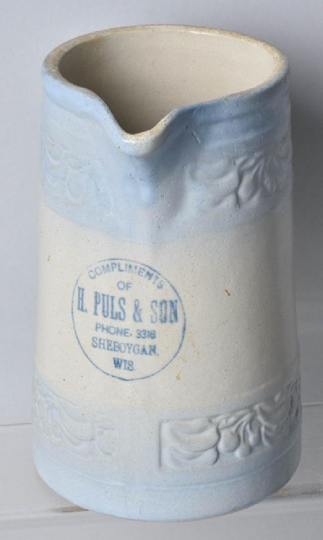 PULS & SON WISC. ADVERTISING STONEWARE PITCHER