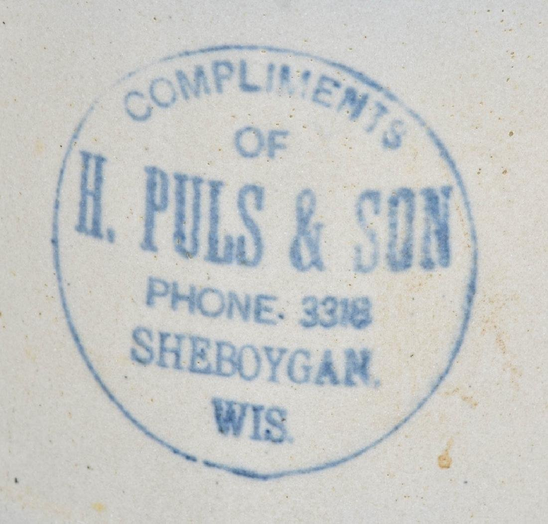 PULS & SON WISC. ADVERTISING STONEWARE PITCHER - 2