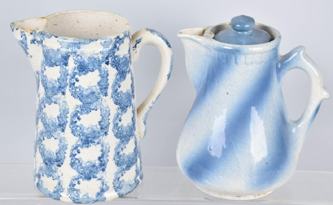 2-BLUE and WHITE STONEWARE PITCHERS