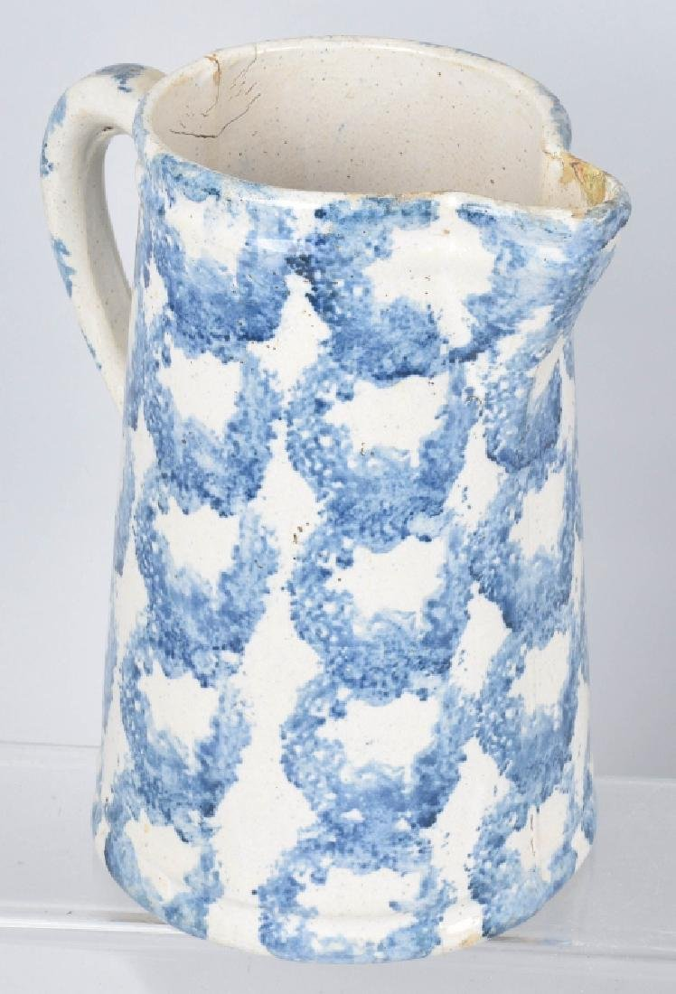 2-BLUE and WHITE STONEWARE PITCHERS - 3