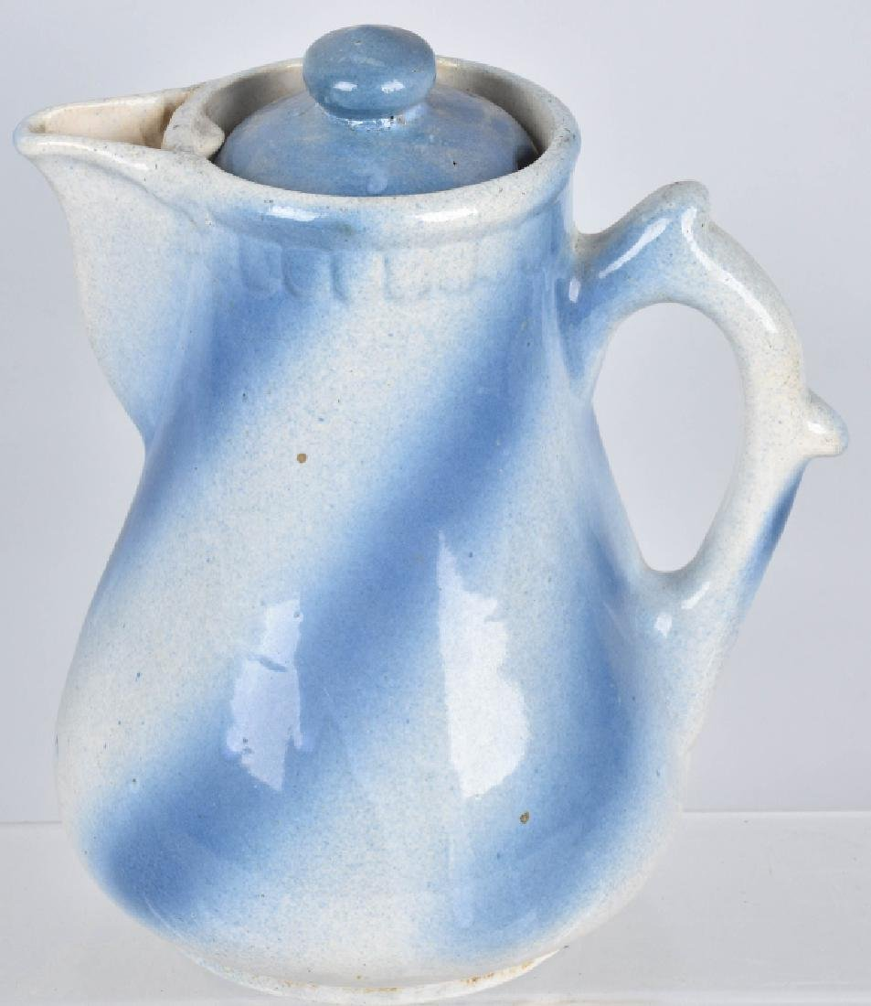 2-BLUE and WHITE STONEWARE PITCHERS - 4