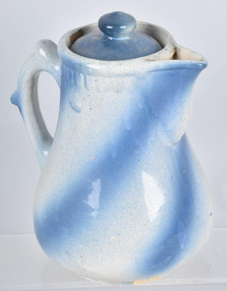 2-BLUE and WHITE STONEWARE PITCHERS - 6