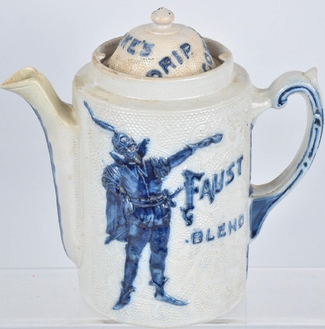 FAUST BLEND ADVERTISING SALT GLAZE COFFEE POT