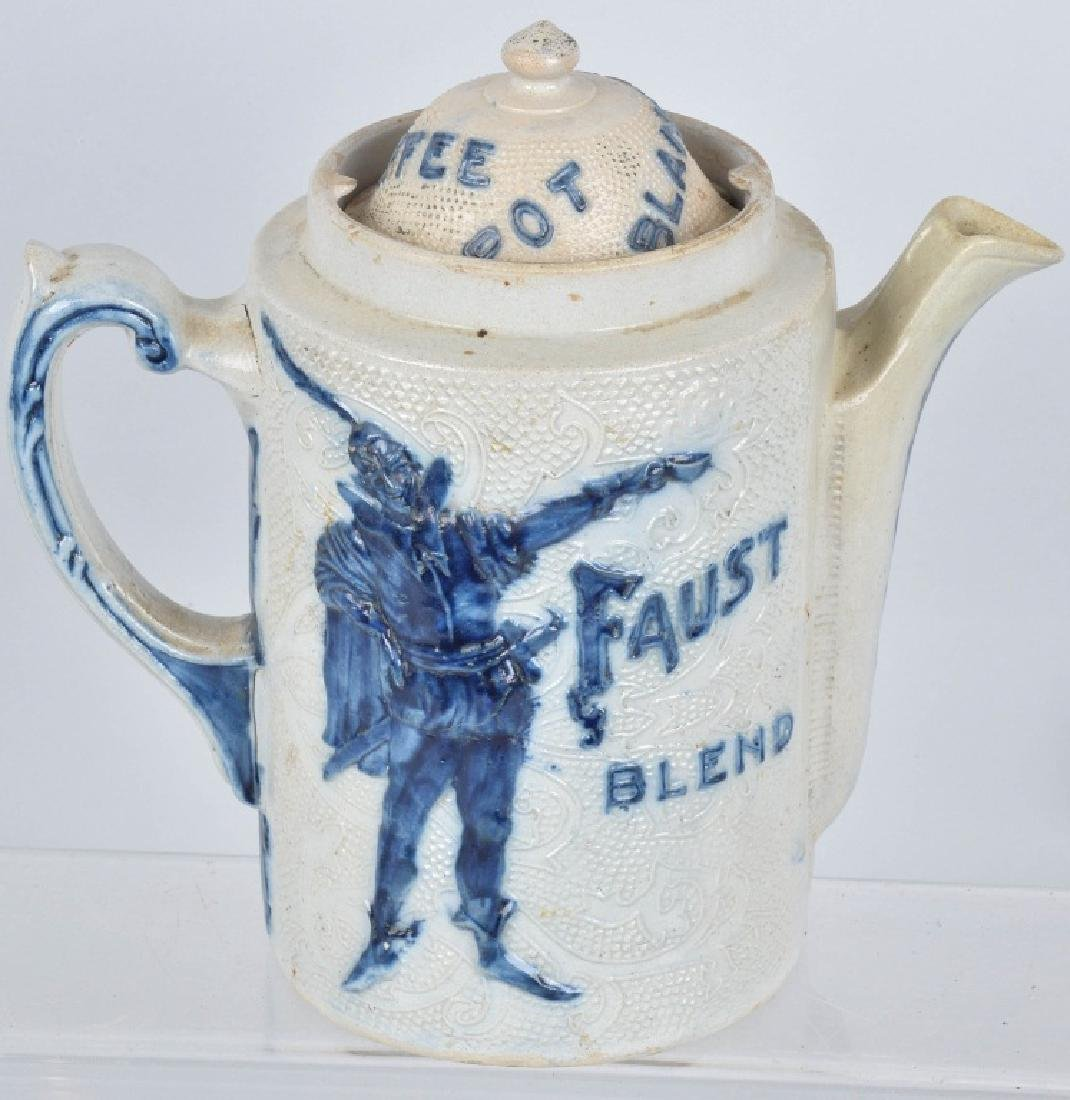 FAUST BLEND ADVERTISING SALT GLAZE COFFEE POT - 2