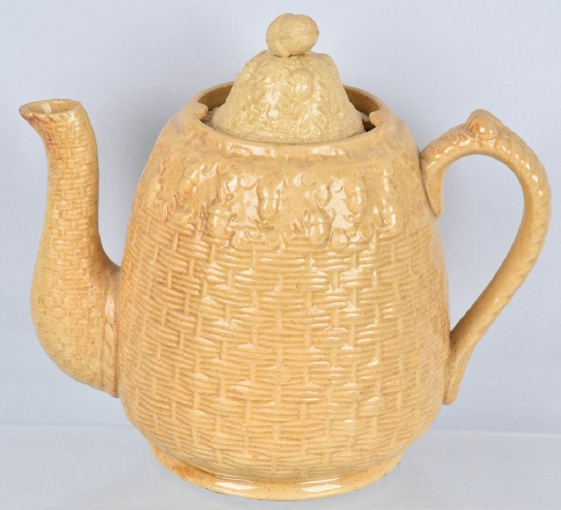 ROGERS & CO, BOSTTON, YELLOW WARE ACORN TEA POT