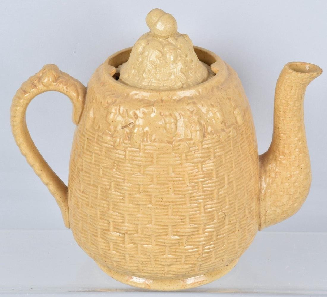 ROGERS & CO, BOSTTON, YELLOW WARE ACORN TEA POT - 2