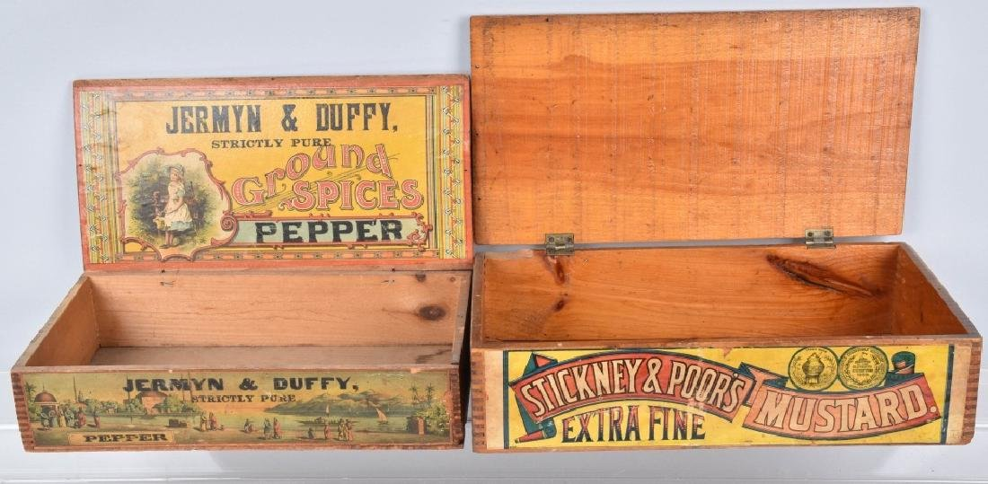 2-ADVERTISING WOOD CRATES, MUSTARD and PEPPER