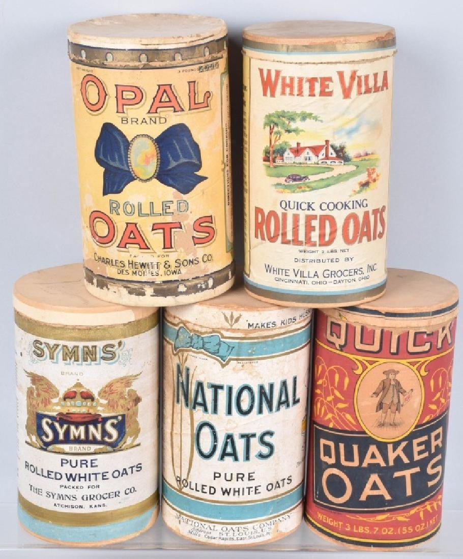 5-VINTAGE OAT MEAL ADVERTISING CONTAINERS