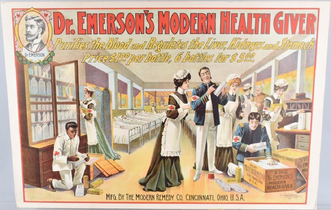 DR. EMERSON'S MEDICINE COLOR ADVERTISING POSTER