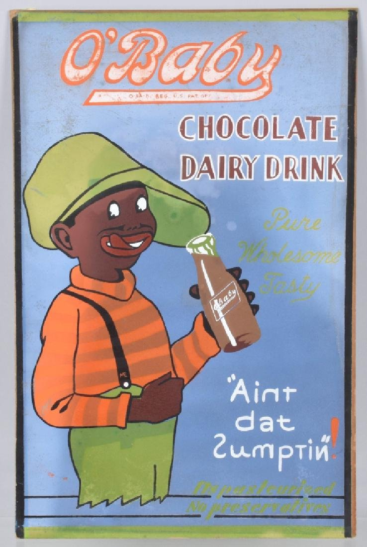 O'BABY DAIRY DRINK, HAND PAINTED CONCEPT ART SIGN