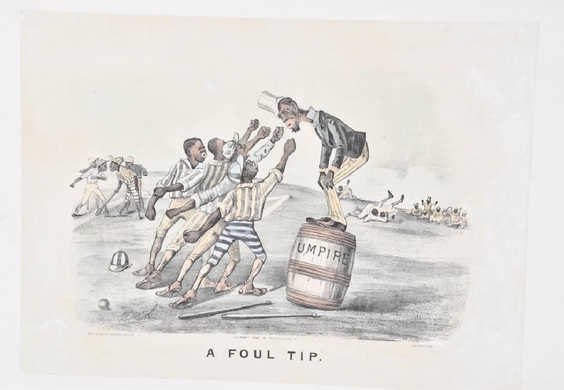 1882 CURRIER & IVES, A FOUL TIP, BLACK BASEBALL