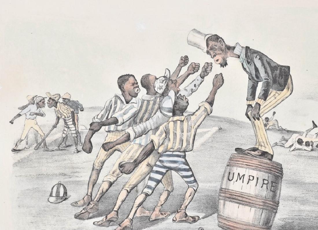 1882 CURRIER & IVES, A FOUL TIP, BLACK BASEBALL - 2