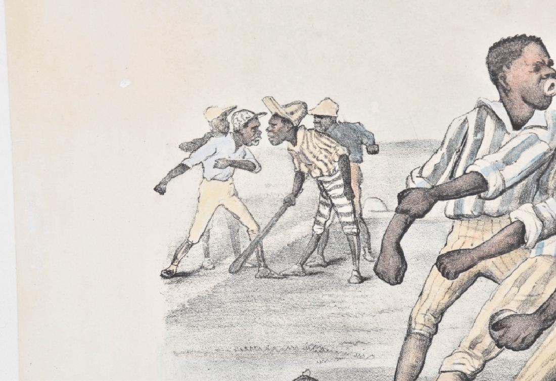 1882 CURRIER & IVES, A FOUL TIP, BLACK BASEBALL - 3