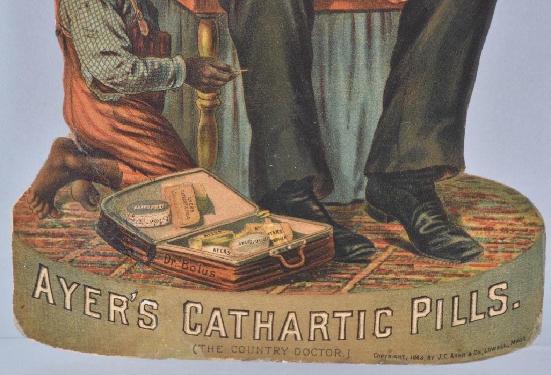 1883 AYERS CATHARTIC PILLS DIE CUT SIGN - 3
