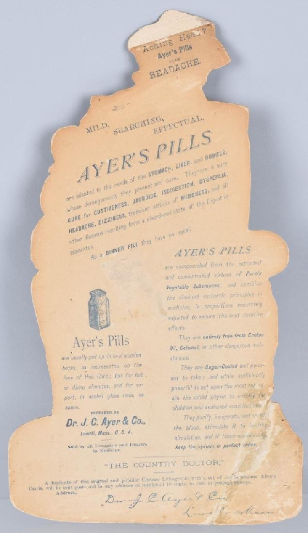 1883 AYERS CATHARTIC PILLS DIE CUT SIGN - 4