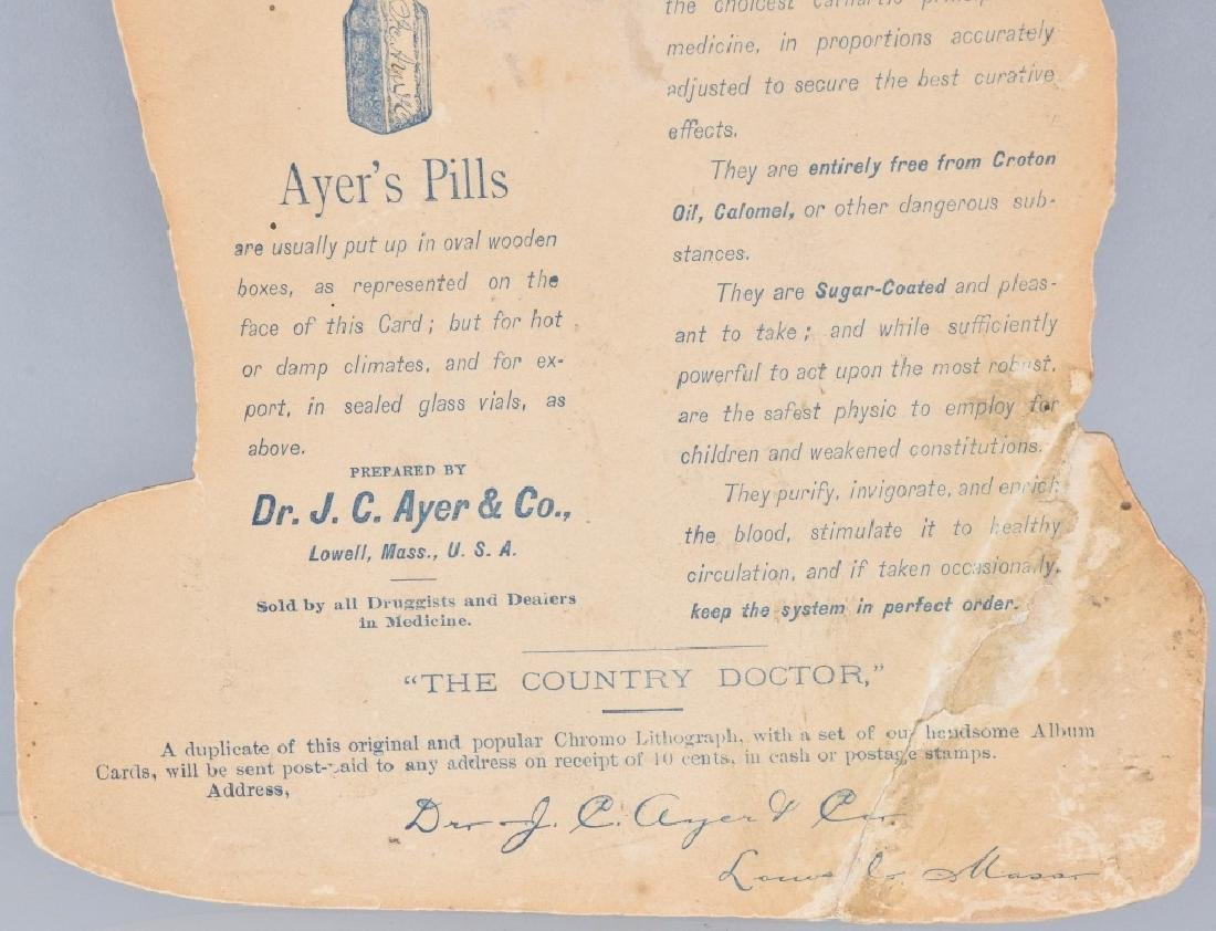 1883 AYERS CATHARTIC PILLS DIE CUT SIGN - 5