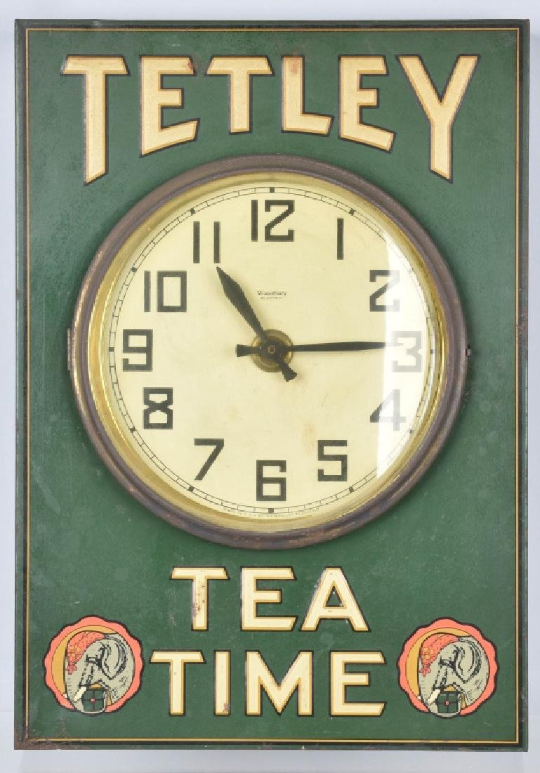 TETLEY TEA TIME EMBOSSED TIN ADVER. CLOCK