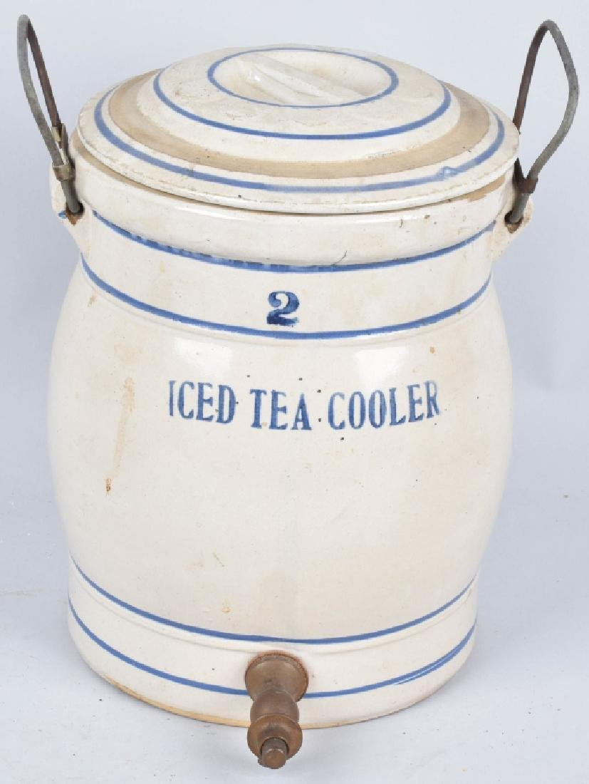 BLUE and WHITE STONEWARE 2 GAL. ICED TEA COOLER