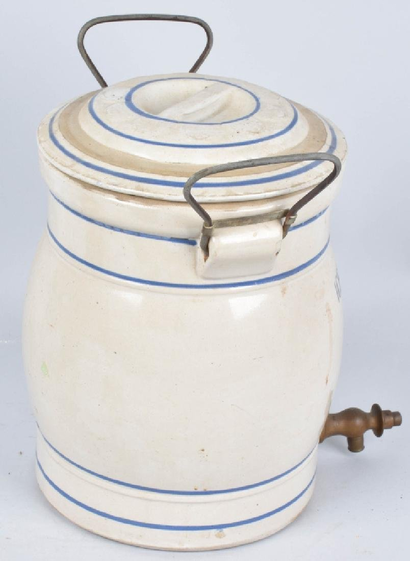 BLUE and WHITE STONEWARE 2 GAL. ICED TEA COOLER - 3