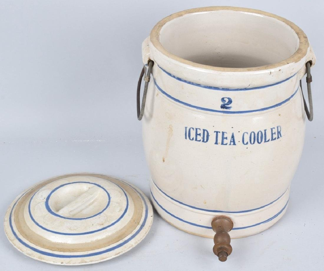 BLUE and WHITE STONEWARE 2 GAL. ICED TEA COOLER - 4
