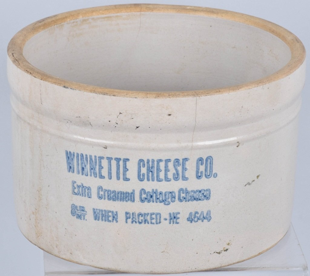 WINNETTE CHEESE CO STONEWARE ADVERTISING CROCK