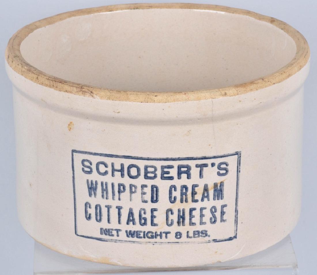 SCHOBERT'S CHEESE STONEWARE ADVERTISING CROCK