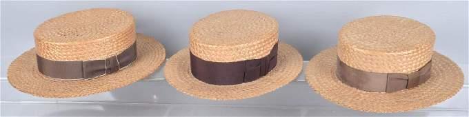 3VINTAGE STRAW HATS