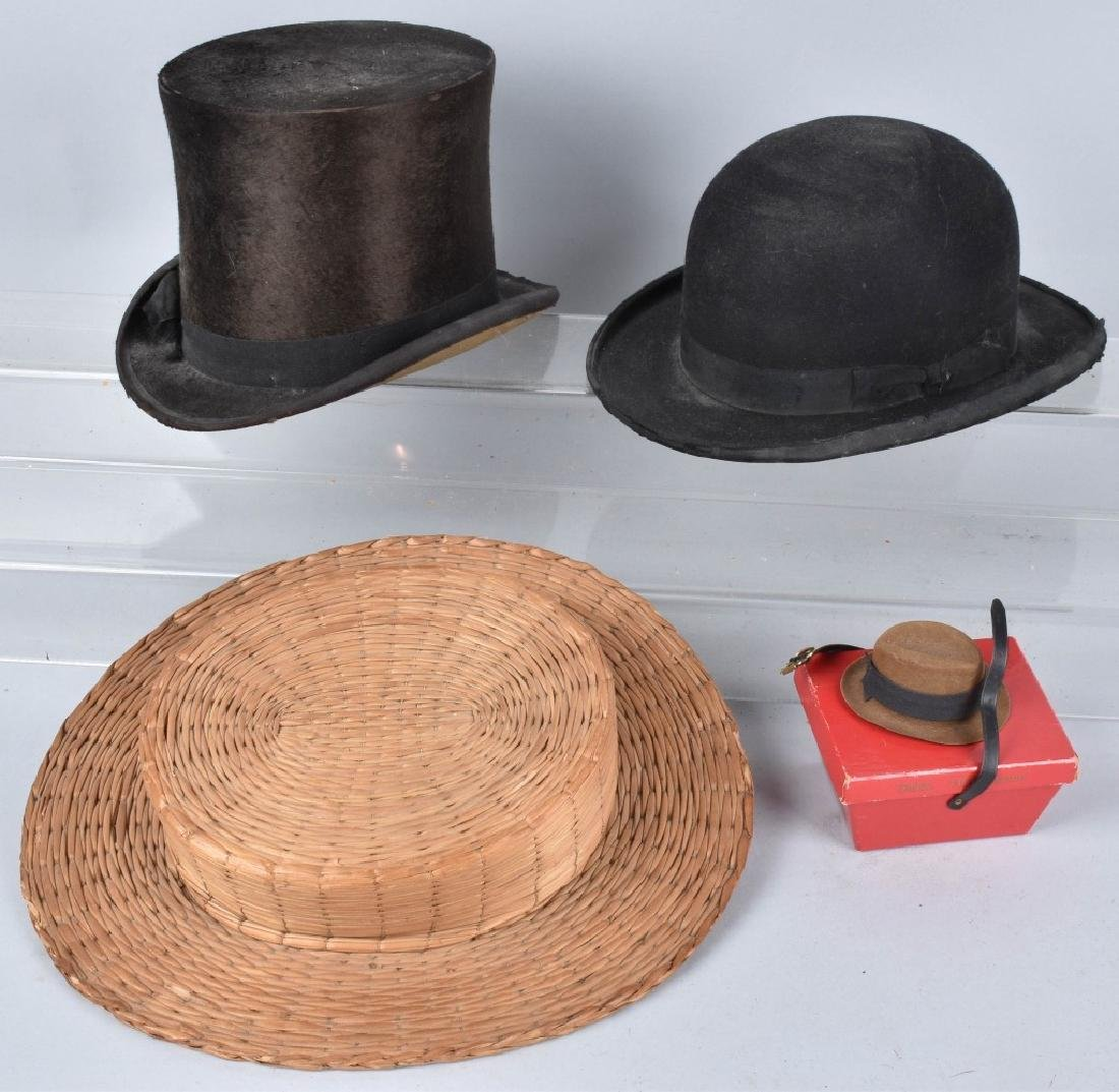 4-VINTAGE HATS, STOVE PIPE, DERBY, STRAW & MORE