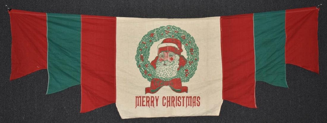 MERRY CHRISTMAS CLOTH BANNER, VINTAGE