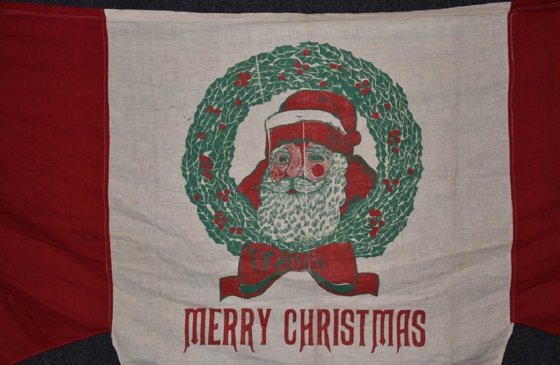 MERRY CHRISTMAS CLOTH BANNER, VINTAGE - 2