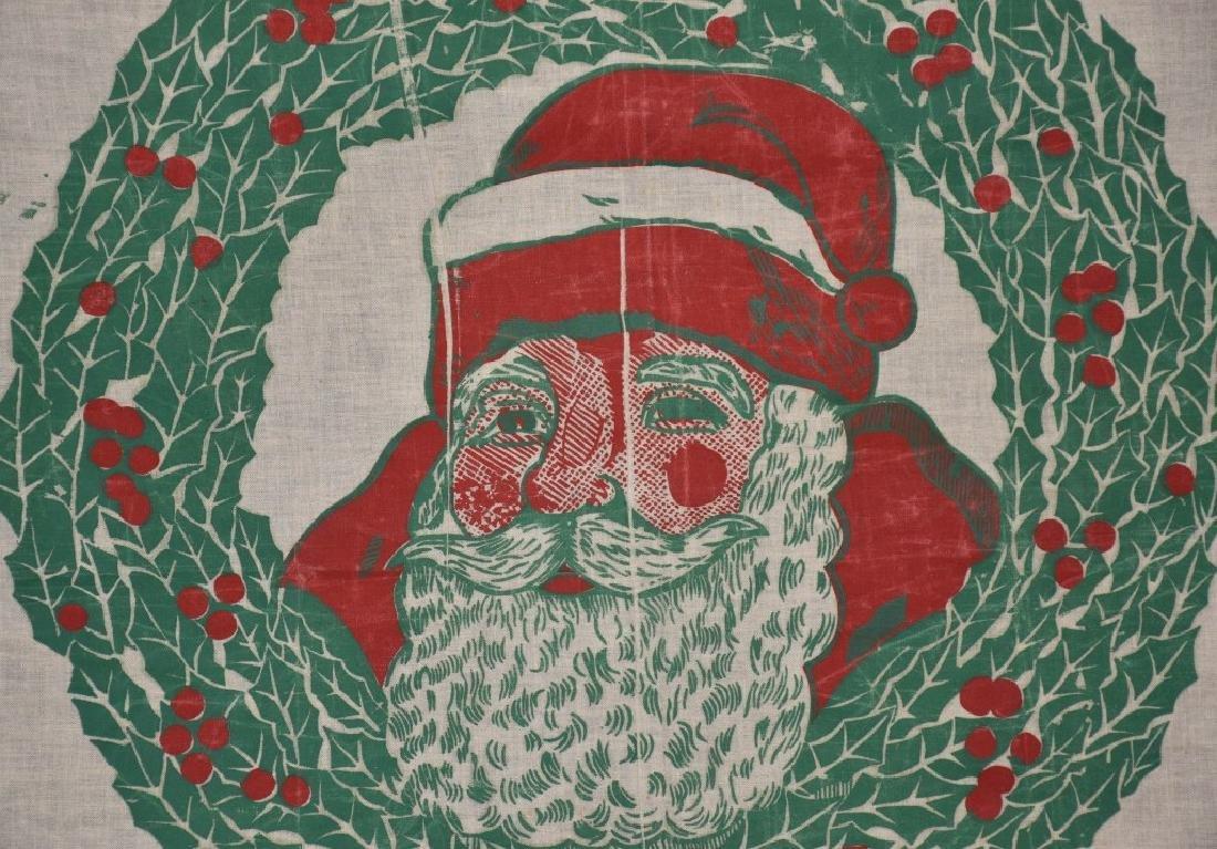 MERRY CHRISTMAS CLOTH BANNER, VINTAGE - 3