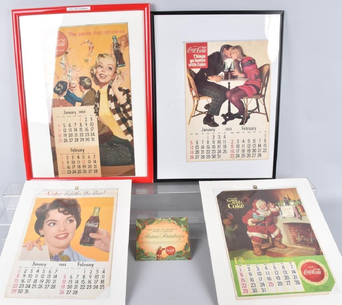 5-COCA COLA CALENDARS, 1956-1969