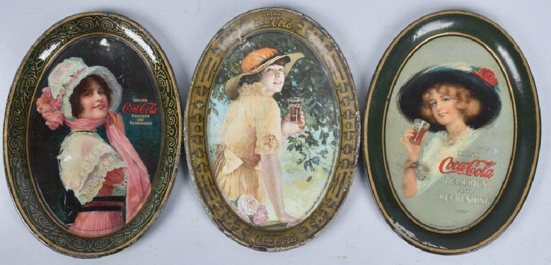 3-COCA COLA TIP TRAYS, 1912, 1914 and 1916