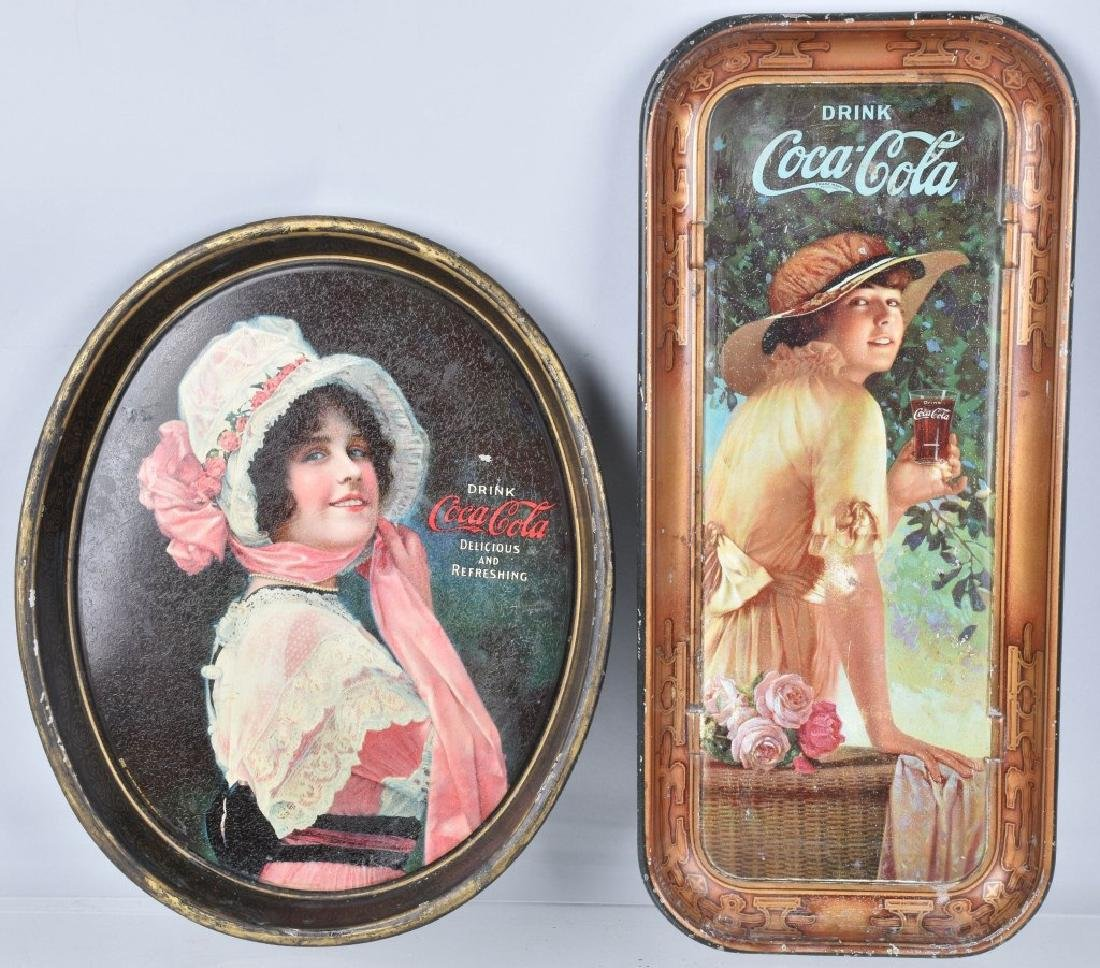 2-COCA COLA SERVING TRAYS, 1914 and 1916