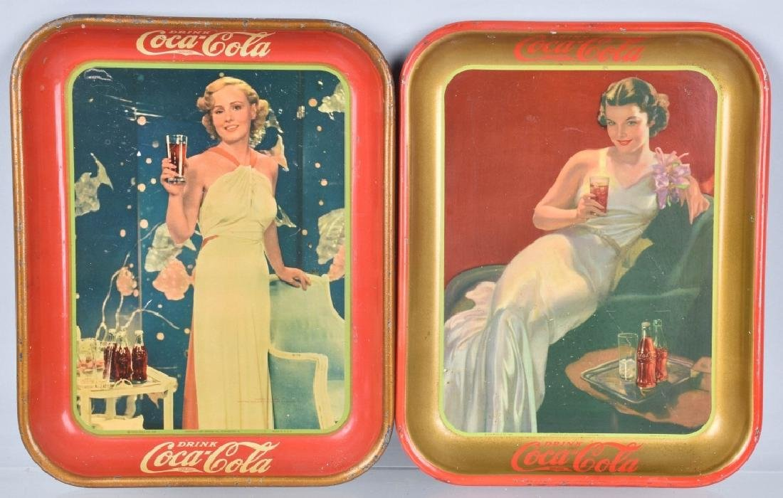 2-COCA COLA SERVING TRAYS,1935 and 1936