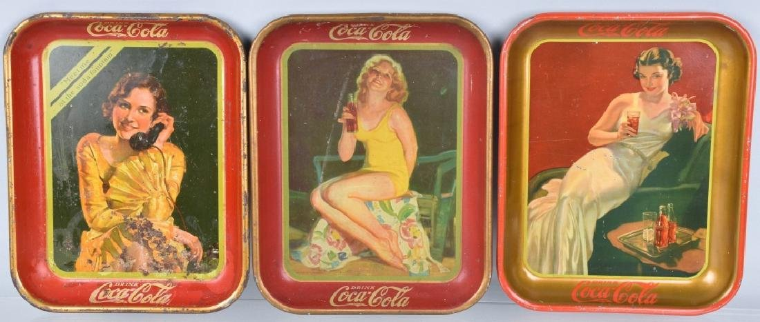 3-COCA COLA SERVING TRAYS, 1930, 1932, and 1936