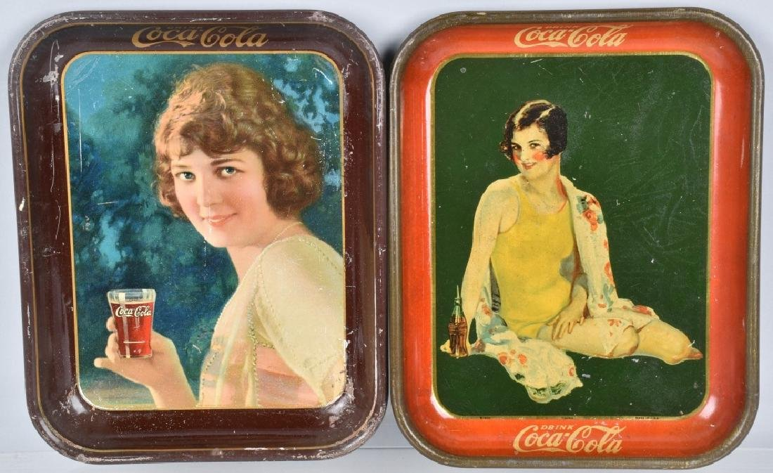 2-COCA COLA SERVING TRAYS, 1924, and 1929