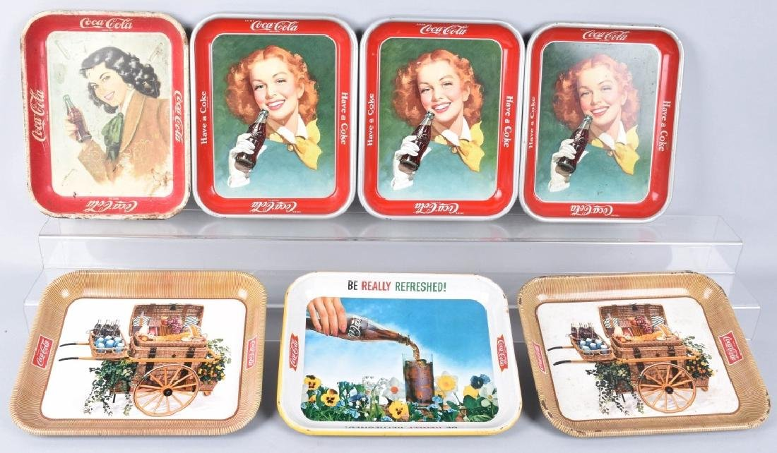 7-COCA COLA SERVING TRAYS, 1948-1960'S