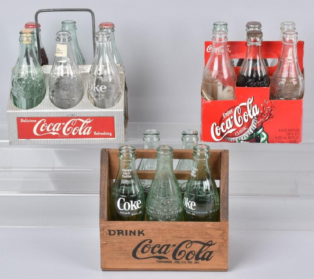 3-COCA COLA SIX PACK CARRIERS and BOTTLES