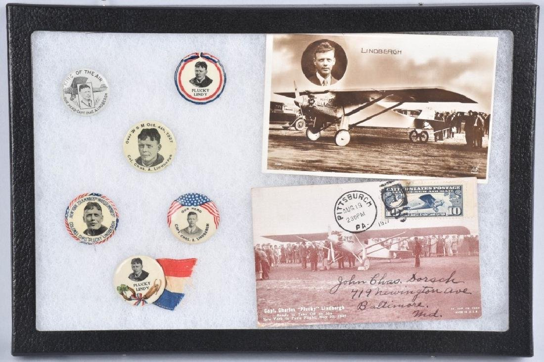 1927 CHARLES LINDBERGH LOT, BUTTONS & POSTCARDS