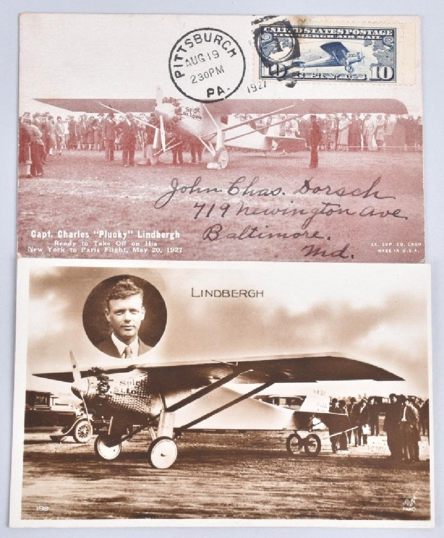 1927 CHARLES LINDBERGH LOT, BUTTONS & POSTCARDS - 4