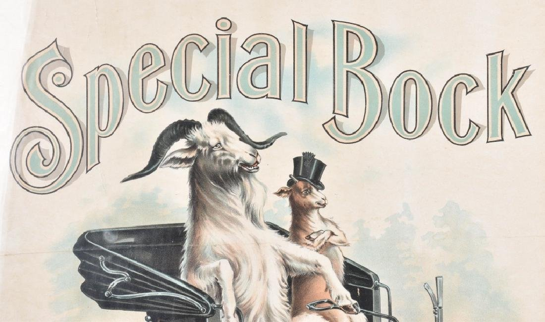 1910 SPECIAL BOCK BEER AUTO & GOATS POSTER - 2
