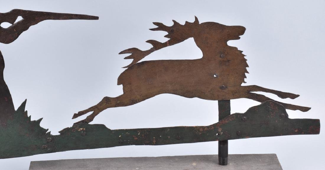 EARLY FOLK ART HUNTER & STAG WEATHER VANE - 3