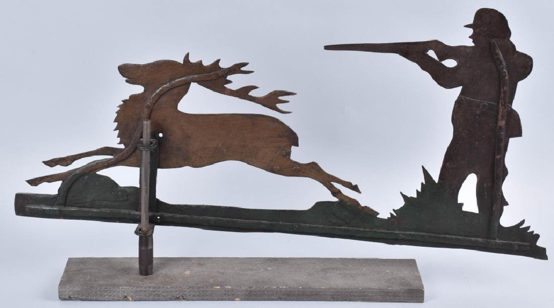 EARLY FOLK ART HUNTER & STAG WEATHER VANE - 4