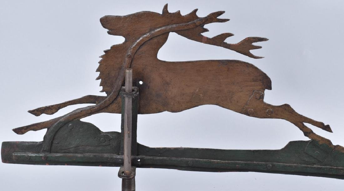EARLY FOLK ART HUNTER & STAG WEATHER VANE - 6